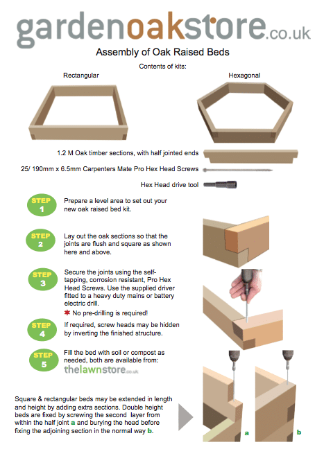 Assembly instructions for Oak Raised Bed kits